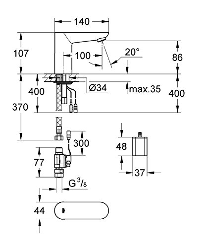 Grohe – Infrarot Sensorarmatur, Waschtisch, Kaltwasserarmatur, mit Batterie, Funktionsmodi, Chrom, Euroeco CE - 2