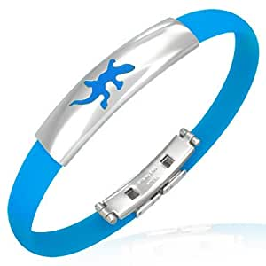 Blue Rubber Men's Bracelet with Stainless Steel Cut-Out Lucky Lizard Watch-Style with Alfred & Co. Jewellery Box - 21.50 cm (8.47 inch)