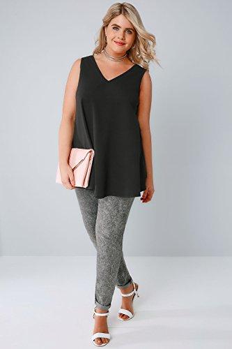 Yours Clothing - Débardeur - Uni - Sans Manche - Femme noir noir Noir