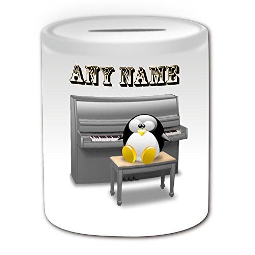 Personalisiertes-Geschenk--PIANO-Spardose-Design-Pinguin-in-Kostm-Thema-wei--alle-NachrichtName-auf-Ihre-einzigartige--Musik-Musikinstrument