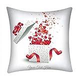 Qinpin Kissenbezüge, Valentinstags-Druck, Polyester, Sofakissenbezug, Heimdekoration, Polyester, C, 45cm * 45cm / 18 * 18'