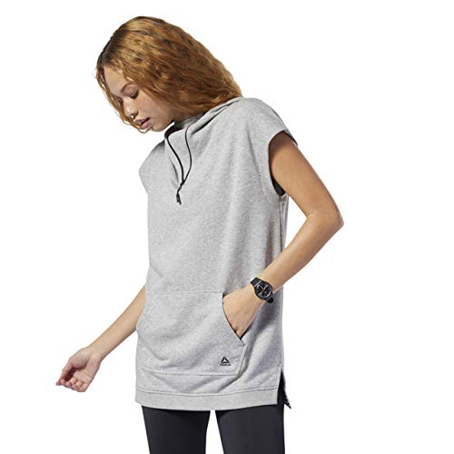 Reebok Damen Sleeveless Hoodie Kapuzenpullover, Medium Grey Heather, Small (Reebok Running Watch)