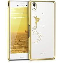 kwmobile Elegante y ligera funda Crystal Case Diseño hada para Sony Xperia M4 Aqua en oro transparente