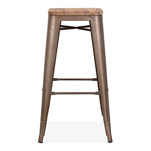 Cult Furniture Xavier Pauchard Tolix Tabouret avec siège en Bois Option – Rustique 75 cm