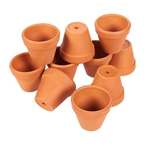 Mini-Terrakotta-Blumentopf-Set von Juvale (10 Stück) - Ideal für kleine Zimmerpflanzen, Balkon- und Terrassenpflanzen oder Ableger und Zöglinge - Mit Bodenloch - Braun-5,3 cm x 3 cm x 4,8 cm