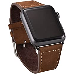 OKCS Apple Watch Genuine Leather Watch Band with Matching Black Watch Adapter Connector Adaptor [New Version] Solenoid Band Strap Genuine 42 mm Basic Sport Edition - Brown