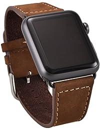OKCS Apple Watch Reloj de pulsera de piel auténtica con passendem Negra Reloj adaptador connector Watch adaptador [Nueva versión] ante erstatz banda Strap Genuine 42mm Basic, deportes, Edition–EN Color Marrón