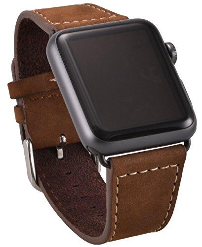 OKCS Apple Watch ECHT Leder Armband Uhrenband mit passendem schwarzem Uhrenadapter Connector Watch Adapter [neue Version] Wildleder Erstatzband Strap Genuine 42 mm Basic, Sport, Edition - in Braun