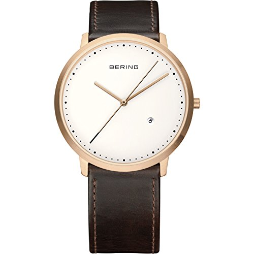 Bering Time Men's Quartz Watch with Black Dial Analogue Display and Gold Leather 11139–564