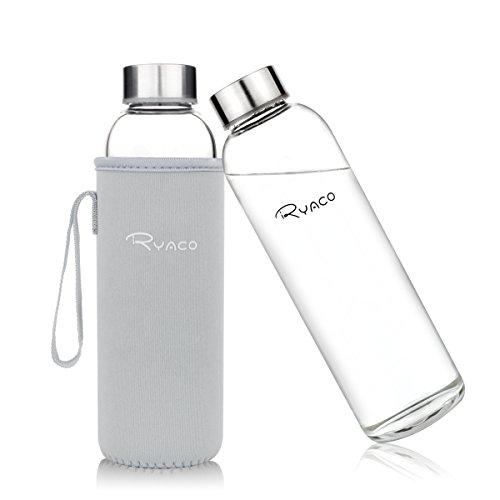 Ryaco Glasflasche Trinkflasche Classic 550ml BPA-frei Glasflasche für Unterwegs Sport Flasche Glas Flasche Water Bottle Wasserflasche Trinkflasche aus Glas zum Mitnehmen heiß kalt Getränke Perfekt für Yoga, Wandern, Büro (Hellgrau)