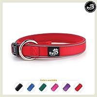 Pets&Partner Hundehalsband aus Neopren, reflektierendes Halsband in verschiedenen Farben für große und kleine Hunde, M, Rot