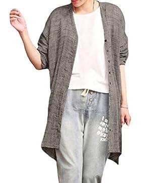 Mujer Rebeca Básica Elegant Loose Fit Camisa Cárdigan con Botones Moda Manga Larga Basica Chaqueta Cover Up Tops...