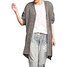 Mujer Rebeca Básica Elegant Loose Fit Camisa Cárdigan con Botones Moda Manga Larga Basica Chaqueta Cover