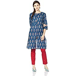 Myx Women's Cotton Straight Kurta (AJST06A_Multi-colored_S)
