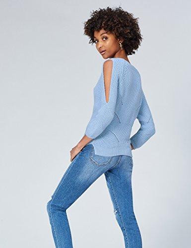 FIND Damen Cold-Shoulder-Strickpullover Blau (Chambrey)