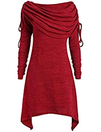 ZIYOU Große Größe Maxi Lange Oberteil Tops Mode Regular fit Pullover mit Foldover Kragen Tunika Oversize T Shirts Volltonfarbe Größe S-5XL