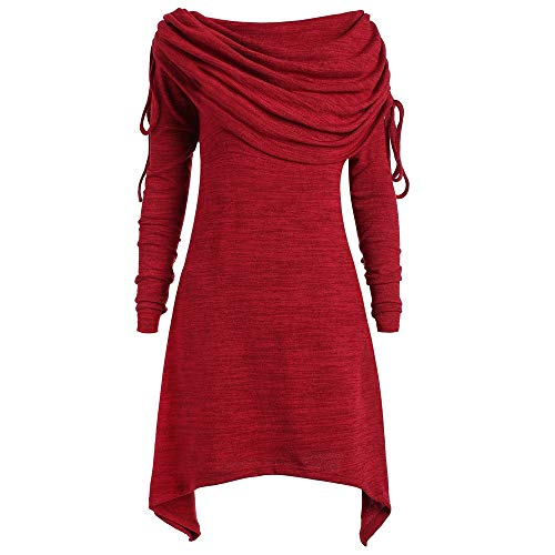 OSYARD Damen Kleider Plus GrößE Foldover Collar, Plus GrößE Womens Fashion Solid Verroschte Lange Tunic Top Bluse Tops (L, Wein)