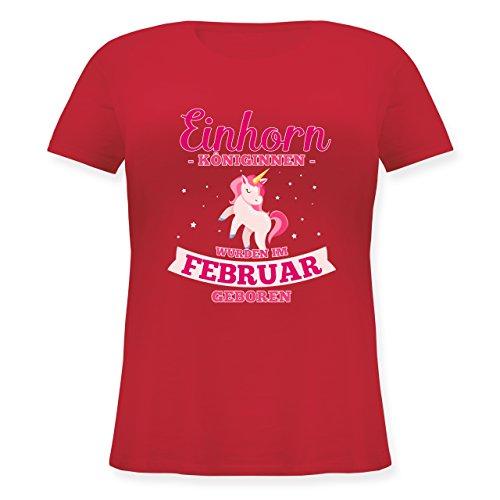 Geburtstag - Einhorn Königinnen Wurden IM Februar Geboren - Lockeres Damen-Shirt in Großen Größen mit Rundhalsausschnitt Rot