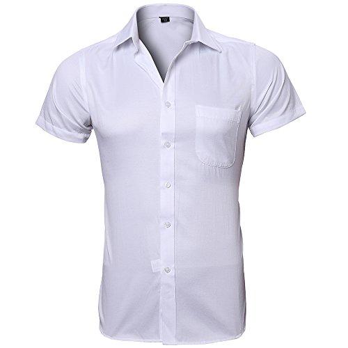 Harrms Chemises Pour Hommes Chemise Décontractée à Manches Courtes Chemise D'Affaires,8 Couleurs