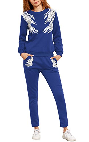 Donna Tuta Da Ginnastica 2 Pezzi Felpa+Lungo Pantaloncini Sportiva Eleganti Casuali Autunno Inverno Ispessisce Calda Sweatshirt+Pantaloni Piuma Stampati Casual Jogging Pullover Blu