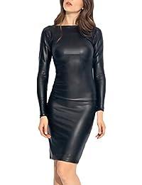 Mujer Vestidos Elegantes Sintético Cuero Vestido Coctel La Rodilla  Sencillos Especial Manga Larga Cuello Redondo Delgado bb84e5f46a0