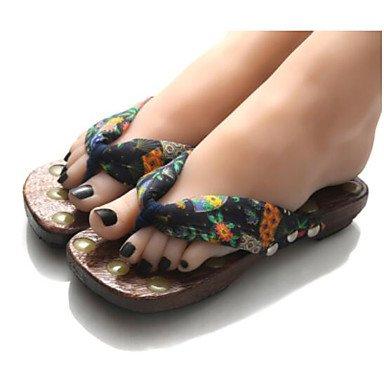 zhENfu donna pantofole & amp; flip-flops Estate Slingback Casual in gomma tacco piatto Black