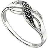 Elements Sterling Silver Ladies Marcasite Twist Small Ring