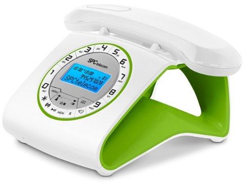 SPC 7703V - Teléfono fijo digital (pantalla LCD), verde y blanco