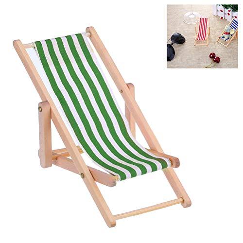 EisEyen 1:12 Mini Beach Lounge Chair Puppenhaus Miniatur Stühle Kinder Spielzeug Möbel Folding Streifen Deck Chair -