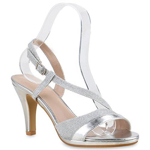 Damen Riemchensandaletten | Glitzer Sandaletten Metallic | Stilettos High Heels | Sommer Party Schuhe | Abiball Hochzeit Brautschuhe Silber Gold