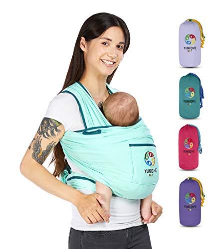 YUNIQME® Tragetuch fürs Baby NEU! - Elastisches Babytragetuch aus 100{b47766bcd1691238303a00222f278a37a01a71ad622fb621ffa6eba17f8a2733} Baumwolle - GOTS - Babysling für Neugeborene - Bauch Babytrage I Baby Zubehör - OEKO TEX  - Farbkombination Tuch Mint