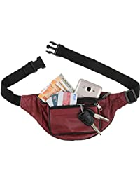 K London Stylish Real Leather Cherry Colored Waist Bag Elegant Style Travel Pouch Passport Holder With Adjustable...