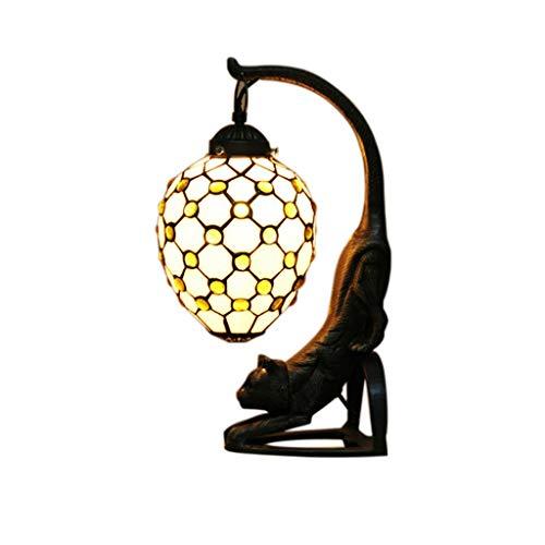 Lampe de table Chat rétro, en Verre teinté Base de résine, Lampe de Bureau Fait Main pour Salon Chambre