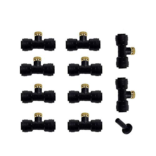 """Care4U Misting Nozzle,Mist Nozzle,10pcs 1/4"""" Slip-Lok Thread Misting Nozzles Tees with Nozzle + 1pc Plug,for Patio Misting System Outdoor Cooling System Garden Water Mister"""