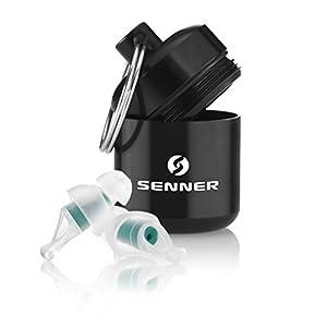 Senner TravelPro Gehörschutz Ohrstöpsel für Flugzeug, fliegen und Druckausgleich, besonders leicht zu tragen und leise, mit Alubehälter, wiederverwendbar