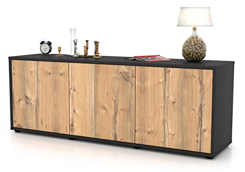 Stil.Zeit Möbel TV Schrank Lowboard Allegra, Korpus in Anthrazit Matt/Front im Holz-Design Pinie (135x49x35cm), mit Push-to-Open Technik, Made in Germany