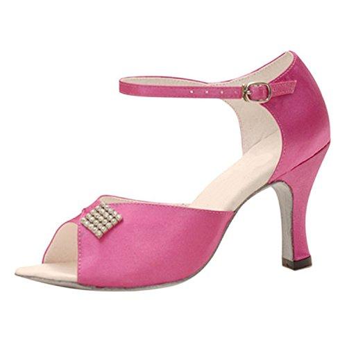 Rosa Multi Leder Schuhe (BYLE Leder Sandalen Riemchen Samba Modern Jazz Tanzen Schuhe Sommer Nach Latin Tanzen Schuhe Gurt Latein Schuhe Rosa 37)