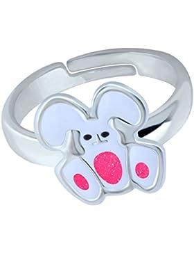 SL-Silver Mädchen Damen Ring lustiger Hase Grösse einstellbar 925 Sterling Silber in Geschenkverpackung