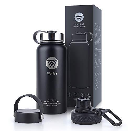 asche Edelstahl Isoliert Wasserflasche mit 3 Becherdeckel für Sport, Schule, Büro & Outdoor Wandern, Camping ()