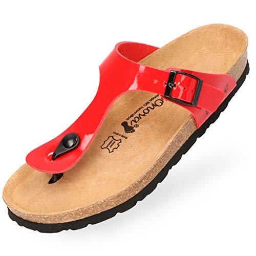 BOnova Damen Zehen-Trenner Ibiza in 14 Farben, stylische Pantolette mit Kork-Fußbett - Sandalen zum Wohlfühlen - hergestellt in der EU rot Lack 43