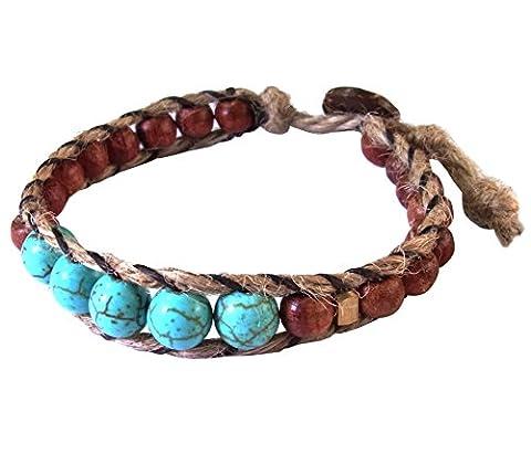Asian Fashion Art Handmade Adjustable Bracelet Hemp String Brass Wood Beads Turquoise Stone Buttons Brown Gold Wristband