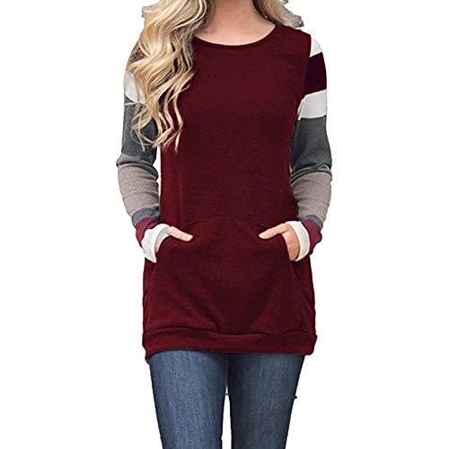 ZJSWCP Sweat-Shirt T-Shirt Tunique à Manches Longues à Manches Longues et à Manches Longues pour Femmes,XL