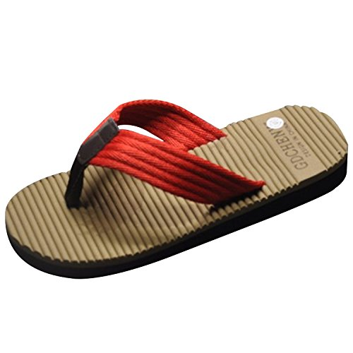 Oasap Fashionable Massage Summer Flip Flop Beach Slippers For Man Red