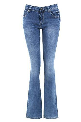 SS7 NEU Damen Stretch Bootcut Jeans Kick Schlaghose, Größe 6 - 14 Denim Blau