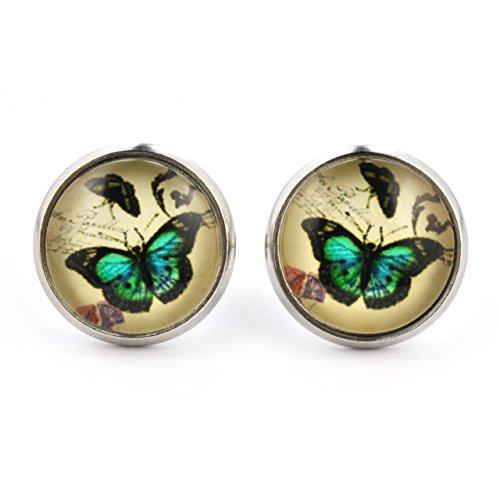 SCHMUCKZUCKER Damen Ohrstecker Motiv Ornament Schmetterling Vintage Modeschmuck Ohrringe silber-farben grün 14mm