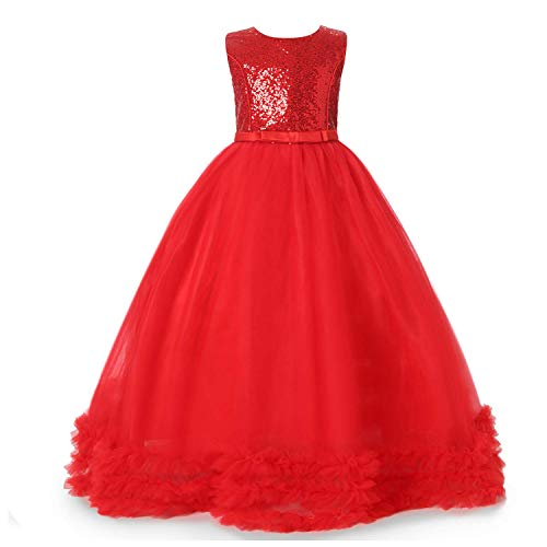 NNJXD Girl Sleeveless Flower Princess Sequin Pageant Dresses Kids Prom Ball Gown Size(120) 5-6 Years Red -