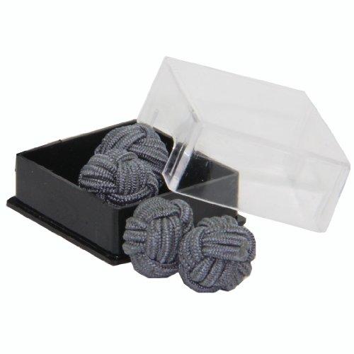 Cuffs & Co Manschettenknöpfe Seide, Knotenform, Mono Gr. Einheitsgröße, grau