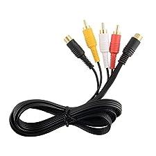 Câble AV (audio/video) RCA avec sortie S-Video et connecteurs plaqués or pour console SEGA SATURN