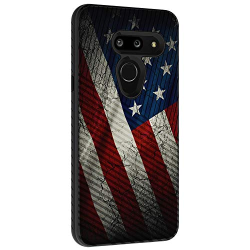 TurtleArmor Schutzhülle für LG G8 ThinQ G820, schlankes Design, doppellagig, mit Gravur, US-Flagge (Cell Cricket Phones Android)