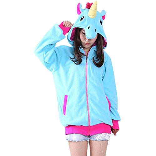 Damen Pullover Hoodie Unicorn Mädchen Sweatjacke Einhorn Langarm Frauen Outerwear mit Kapuzen Zip (Kostüme Halloween Hoodie)